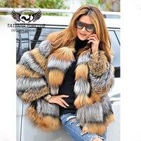 Татьяна Furclub Настоящее Шуба Luxury зимняя куртка натуральный Золото лисий мех пальто модное пальто На зимнем меху Пальто для девочек Для женщи