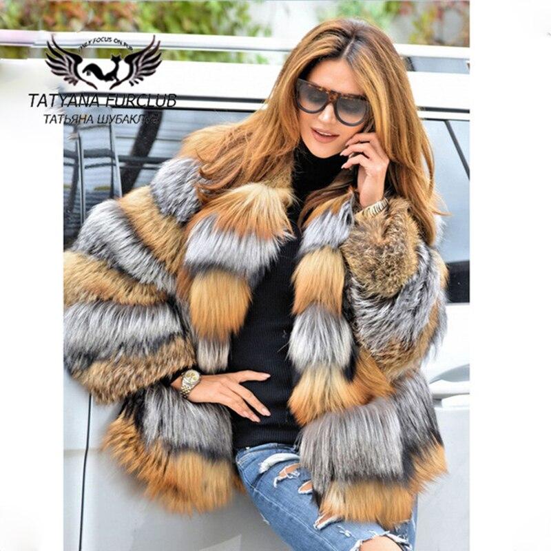 Татьяна Furclub роскошный мех лисы пальто, 100% натуральная значение натуральный лиса пальто, На зимнем меху пальто натурального меха, для женщин...