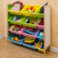Children's Toys Storage Box Shelf Solid wood Nursery Baby Toys storage rack