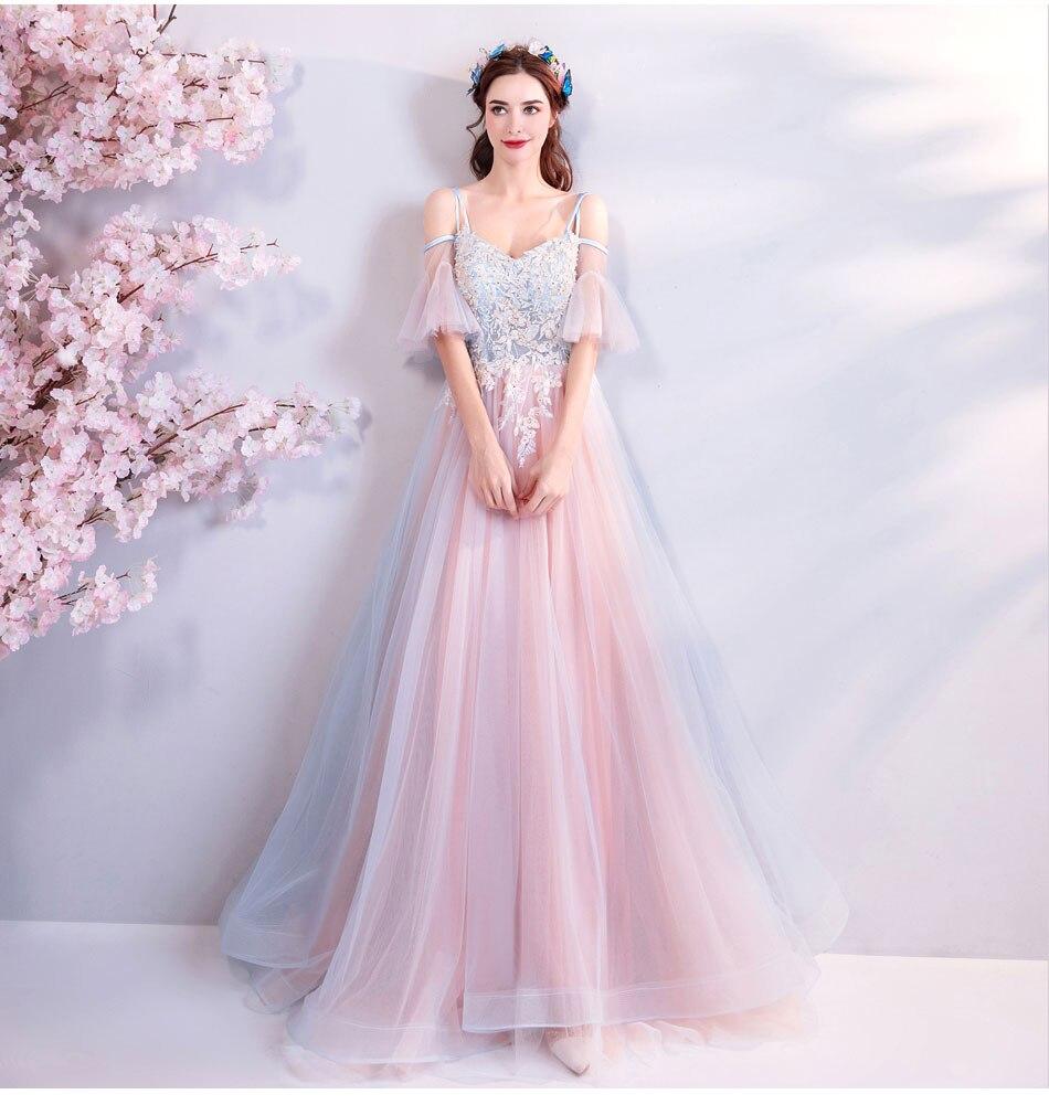 Elegant Off The Shoulder Tulle Long Bridesmaid Dress 11
