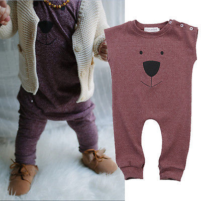 2016 New Fashion Baby Clothes 0-24M Infant Kids Boys Girls Summer Sleeveless Bear Romper Playsuit One Pieces