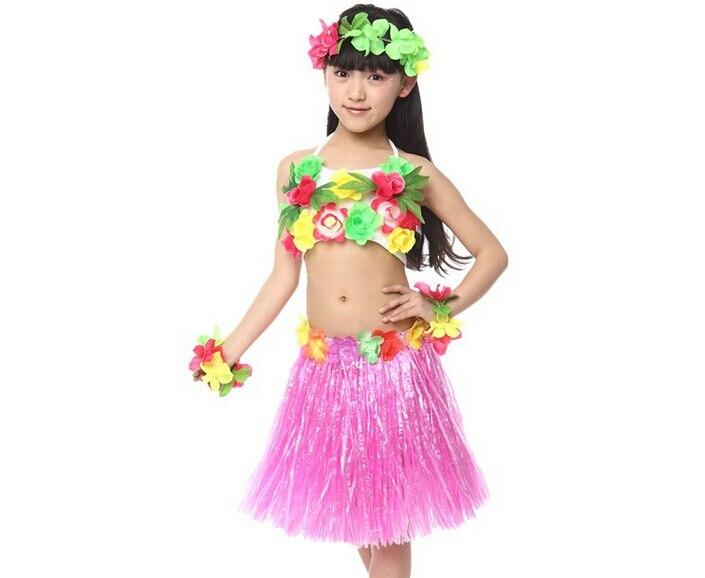 Kids Size Hawaiian Pink Hula Grass Skirt