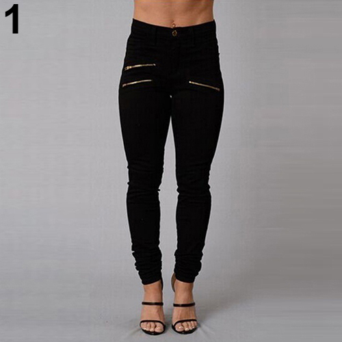 Women's Sexy Fashion Zippers Stretchy High Waist Skinny Pants Jeans Trousers
