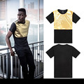 2014 new arrival European American mens clothing plus size gold patchwork t-shirt loose mens hip hop short-sleeve casual T-shirt
