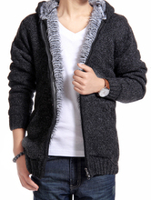 Men's clothing plus velvet thick sweater outerwear male sweater cardigan trend