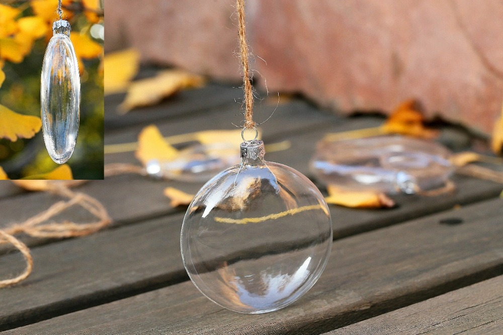 Clear Glass Disc Balls Wedding Bauble Ornaments Christmas