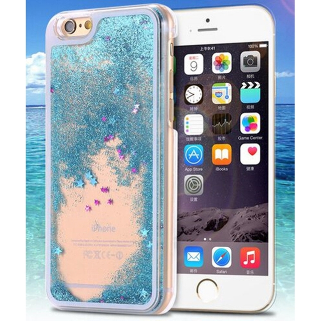 Hard Back Cover phone case Dynamic Liquid Glitter Sand Quicksand Star Cases For iphone 5 5s 6 6s 7 Clear Transparent phone case