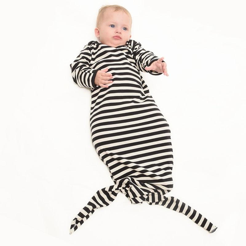 Симпатичные 12-24 м для маленьких мальчиков платье для девочек в полоску Русалка Сна Пижамы Детские Костюмы милые Модная одежда для детей, Дет...