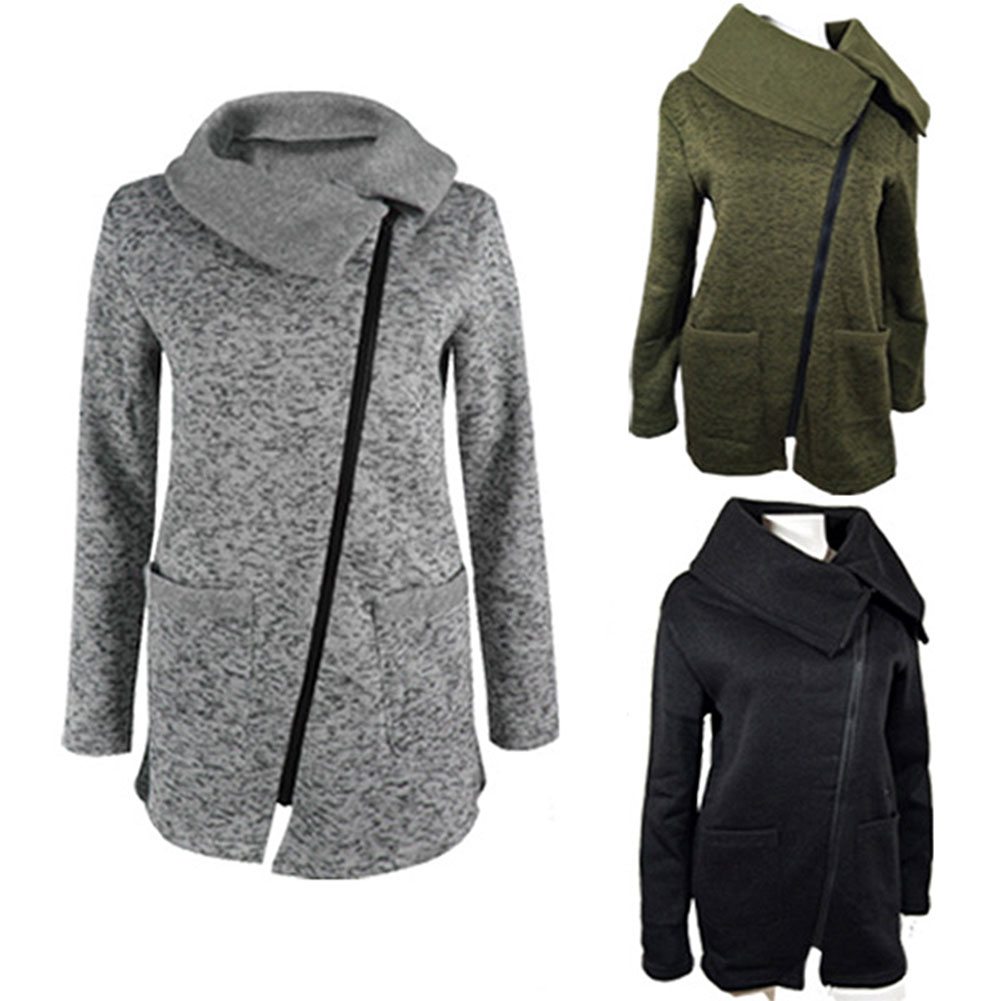 Fashion Autumn Winter Women Outwear Long Sleeve Diagonal Zipper Pocket Coat Ladies Girls Casual Jacket Plus Size M 7XL H