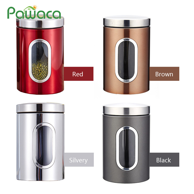 Stainless Steel Canisters Airtight Coffee Tea Sugar Beans Tin With Visible Window Kitchen Storage Containers Sealed Jar Bottle