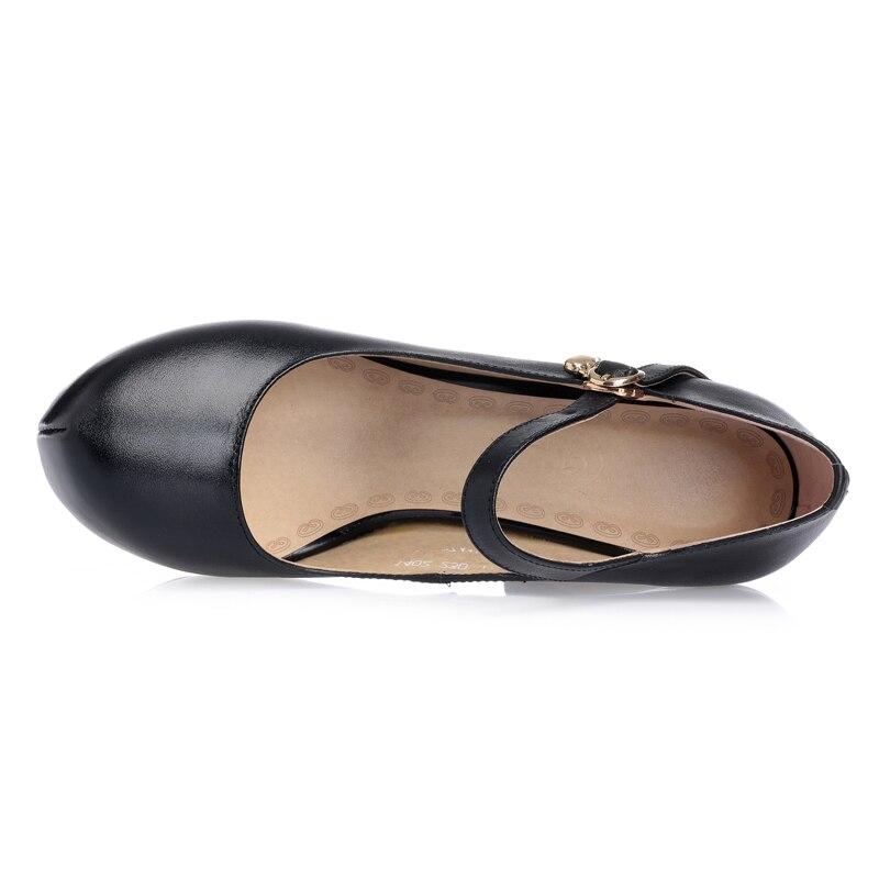 Pour Plate Office Chaussures Partie Bout Femmes Beige En Lady Rond Pompes noir Profonde forme De Peu Talons Gktinoo Véritable Cuir Mariée Sexy UgpnqnTZ
