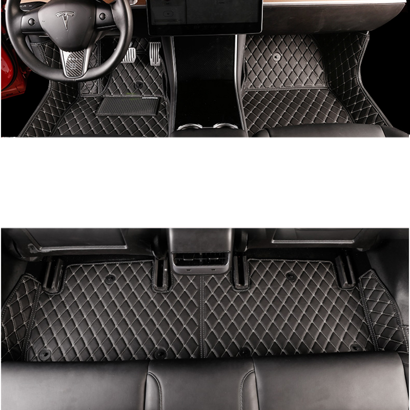 Lsrtw2017 Fiber Leather Car Interior Floor Mat For Tesla Model 3 2017 2018 2019 2020