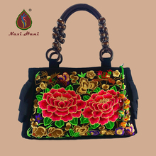 hot deal buy limited sales women bags national style black canvas lace women handbags vintage handmade fashion totes