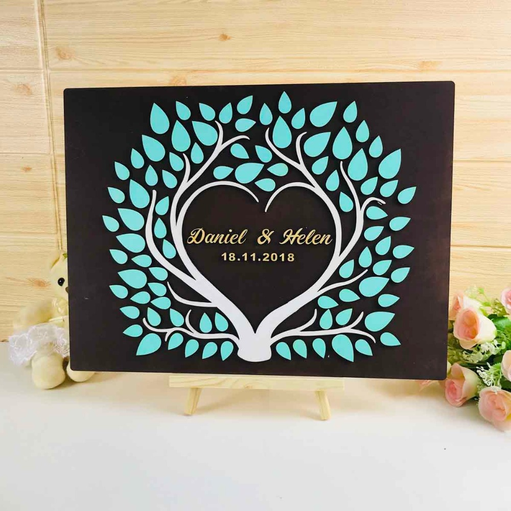 3D Tree Custom Wedding Guest Book Frame with Name & Date Love Signature Book Rustic Alternative Guest Book Wedding Ideas Decor image