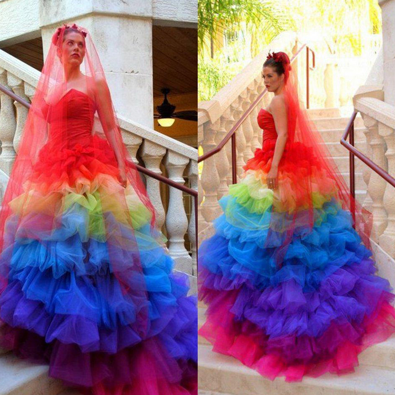 Plus Size Gothic Wedding Dresses 2016 2017: 2017 Exotic Sweetheart Colorful Wedding Dresses Tulle