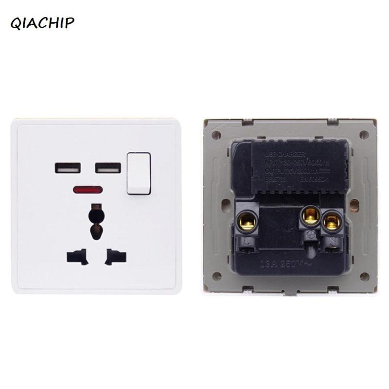 QIACHIP UK Standard AC 110V 220V Power Socket Switch White 86 Panel Push Button Switch with USB Port Socket Adapter Plug H4 hp9800 pc usb port 4500w 85v 110v 220v 265v ac 20a electric power energy monitor tester watt meter analyzer with socket output