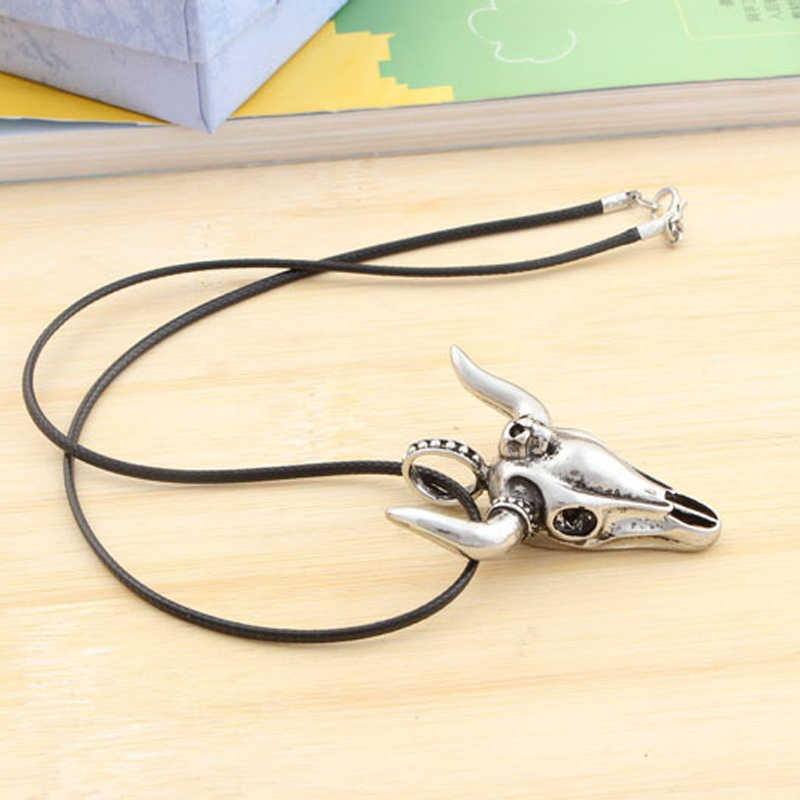 Fashion Bull Skull Head Pendant Necklace Titanium Steel Rope Chain Necklaces Men Punk Rock Jewelry Friends Gift