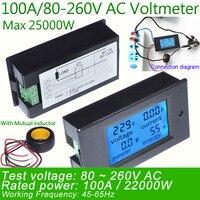 AC Voltage Meters100A 80 260V Digital LED Power Panel Meter Monitor Power Energy Voltmeter Ammeter Watt