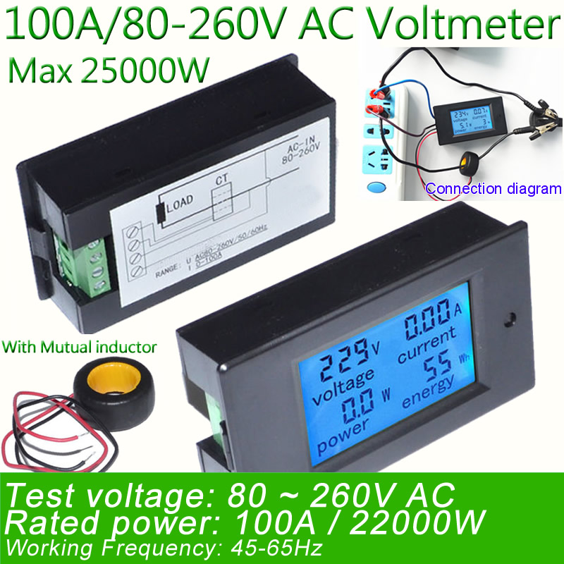 Digital AC Voltage Meters 100A/80~260V Power Energy analog Voltmeter Ammeter watt current Amps Volt meter LED Panel Monitor