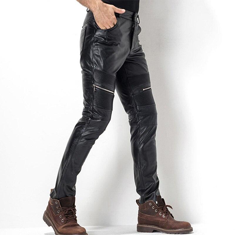 Men's Leather Pant Biker Pants Motorcycle Punk Rock Pants Tight Gothic Leather Pants For Men  TJ05