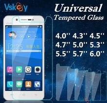 VSKEY 10 pcs Universal Vidro Temperado 4.3 4.5 4.7 5.0 5.3 5.5 5.7 6.0 em Protetor De Tela Para Huawei Xiaomi lenovo OPPO ASUS Sony