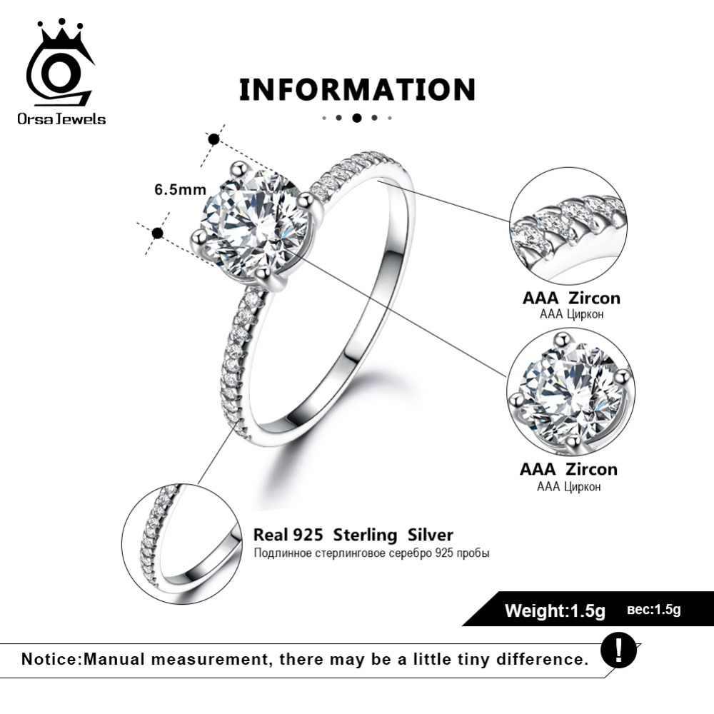 ORSA JEWELS 100% ของแข็ง 925 เงินสเตอร์ลิงแหวนผู้หญิงหมั้นงานแต่งงานแหวน AAA Cz หญิงเครื่องประดับของขวัญ VSR11