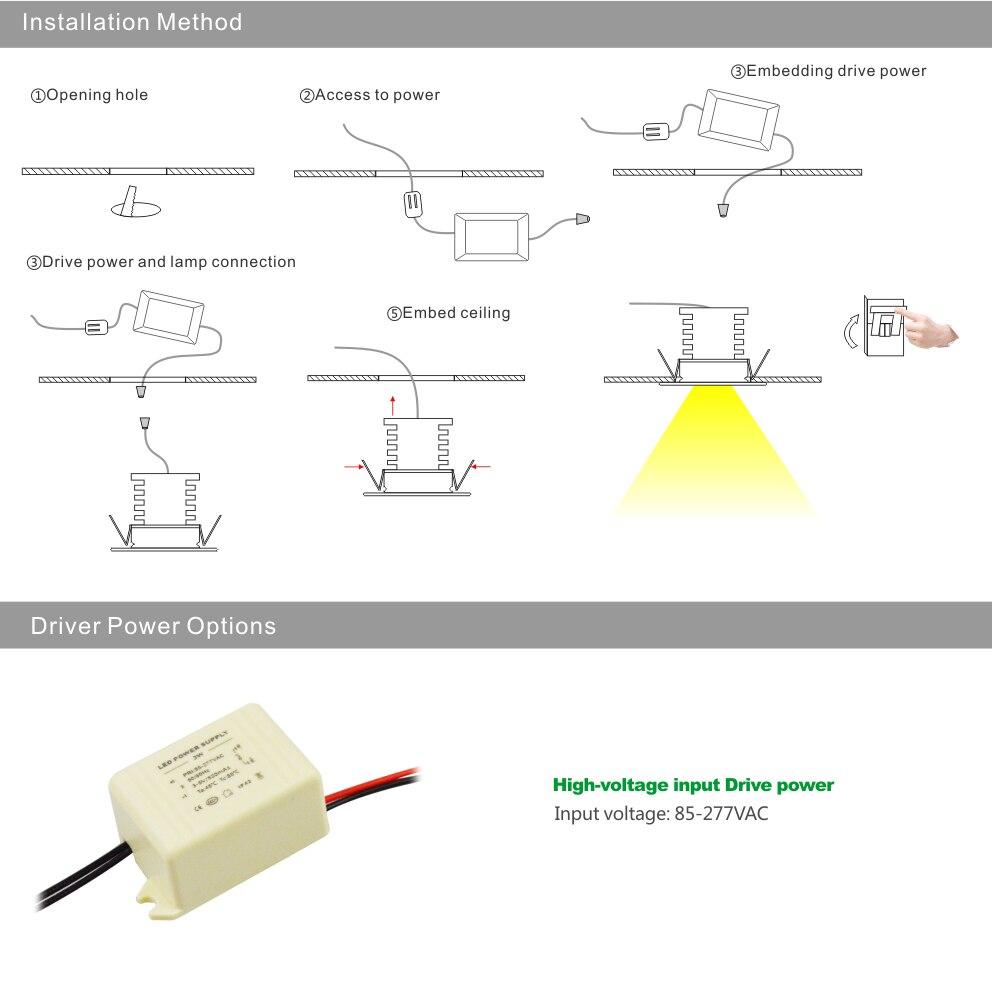 Wiring Diagram 277v Led Recessed Lighting Schematics Ballast 1w Downlight Ac85 Input Spot Ceiling Lamp 25mm Cutout