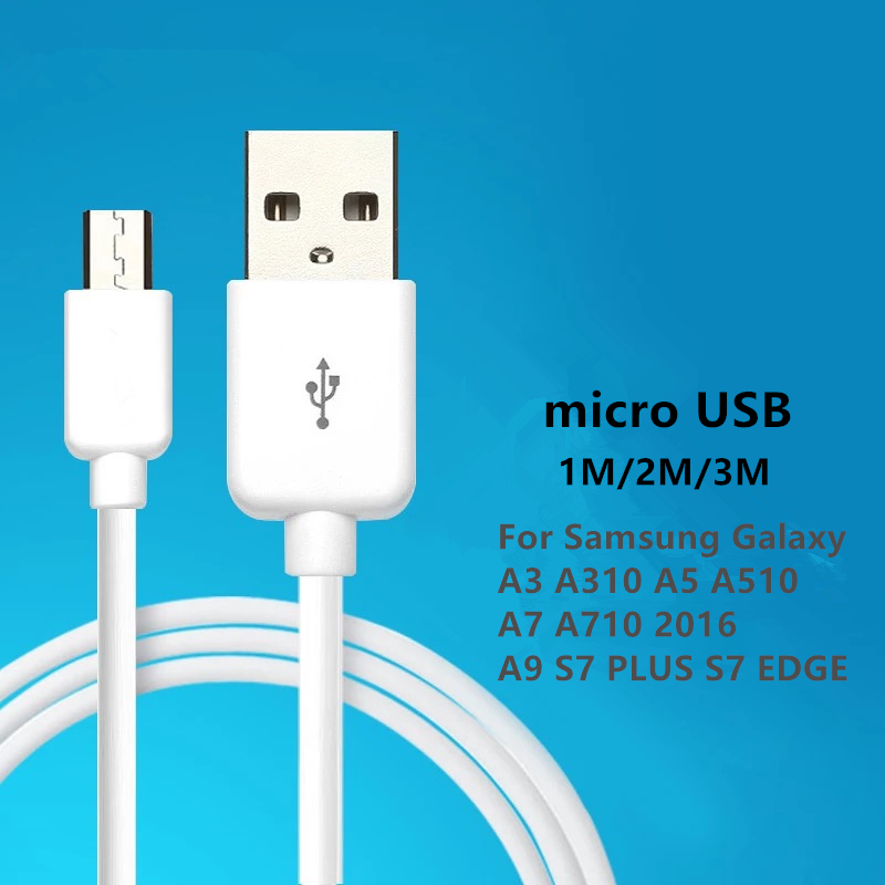 Charging Cable Micro USB2.0 Data Sync Charger Cable 1M 2M 3M For Samsung Galaxy A3 A310 A5 A510 A7 A710 2016 A9 S7 PLUS S7 EDGE