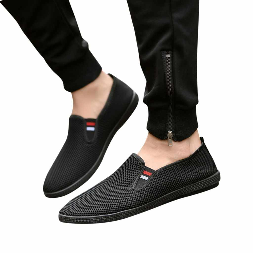 SAGACE Mesh Men Shoes Breathable Large Size High Quality Casual Men's Shoes Breathable Slip On Loafers Men Driving Boat Shoes