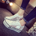 Женская мода холст обувь высокая платформа кружева повседневная обувь пары тапочек взрослых низкий топ полые плоские простые туфли эспадрильи XK012108