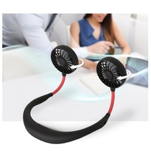 Portable Wearable Neckband Fans Usb Rechargeable Dual Wind Head 3 Speed Fans Adjustable Hands-Free Fans For Home Office