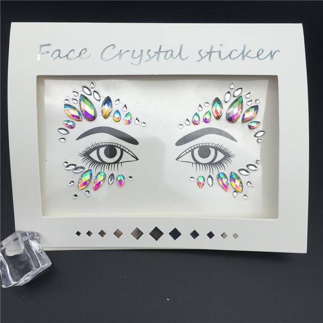 3D Crystal Glitter Jewels Tattoo Sticker Women Fashion Face Body Gems Gypsy Festival Adornment Party Makeup Beauty