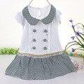 Meninas do bebê listrada dress vestidos para bebês de algodão summer girl casacos baratos moda infantil outfits roupa do bebê de manga curta