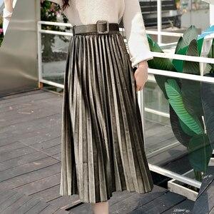 Image 4 - חצאיות נשים 2019 סתיו אמצע עגל אורך Faldas Mujer Moda אלסטיות גבוהה מותניים נהיגה לראשונה חצאית Femme Saia Midi מוצק נשי קפלים חצאית