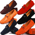 US6-12 New REAL Leather  Suede Leather  Casual SLIP-ON Loafers mens driving car shoes moccasin12 colors