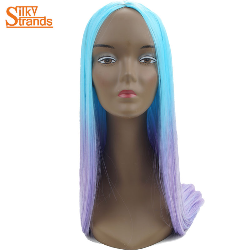 Silky Strands Ombre Synthetic Cosplay Wigs Purple Blue Long Straight Female Wigs For Women