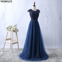 YIDINGZS Azul Marinha Prom Dress 2018 Nova Chega Lace Tulle A Linha de vestidos Formais Festa À Noite Vestido Longo