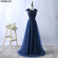 YIDINGZS Navy Blue Prom Dress 2017 New Arrive Lace Tulle A Line Formal Long Evening Party
