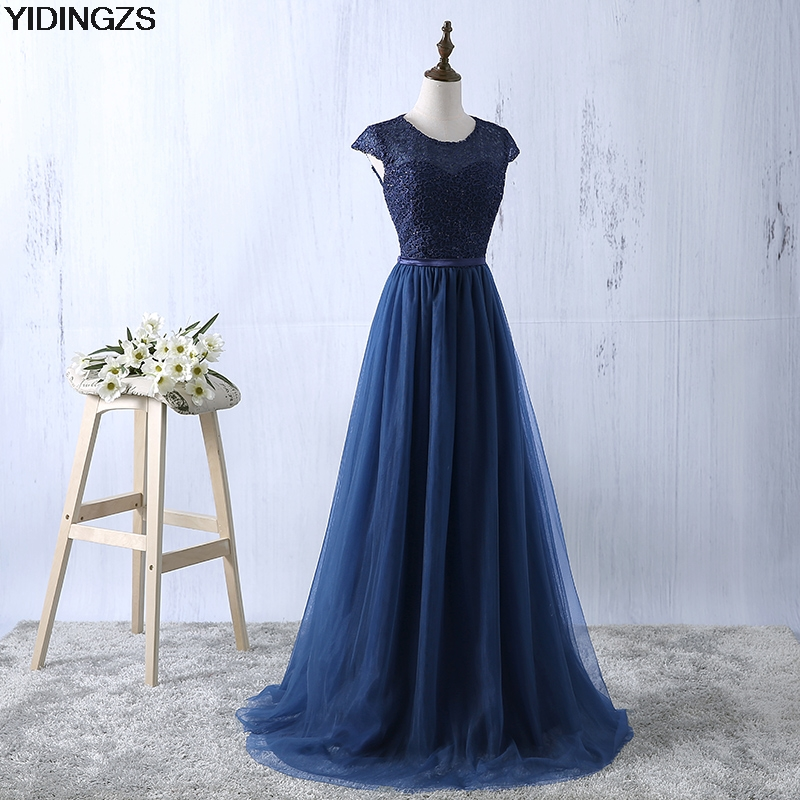 YIDINGZS Navy Blue Prom Dress 2018 New Arrive Lace Tulle A-line Formal Long Evening Party Dress lace insert maxi party prom dress