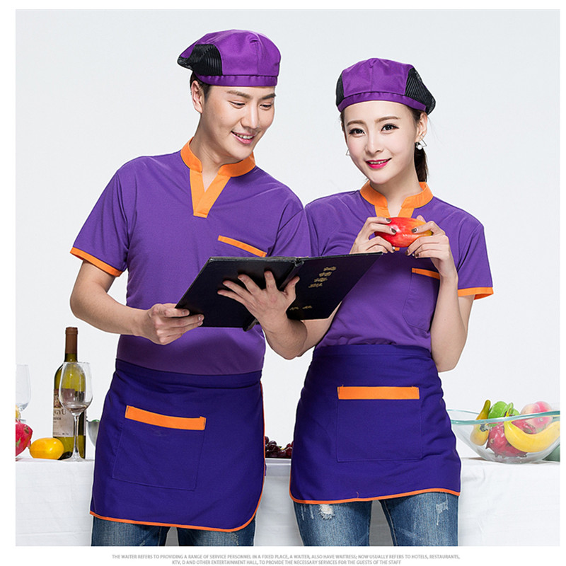 Summer Chef Uniforms Clothing Food Services Hotel working wear Long-sleeved T-shirts and apron