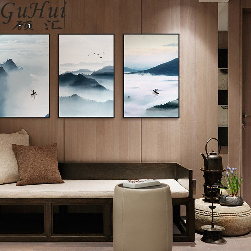 Chinese Style Ink Landscape Painting Black Abstract Mountains The River Fisherman Canvas Painting Tea Room Living Room Decora