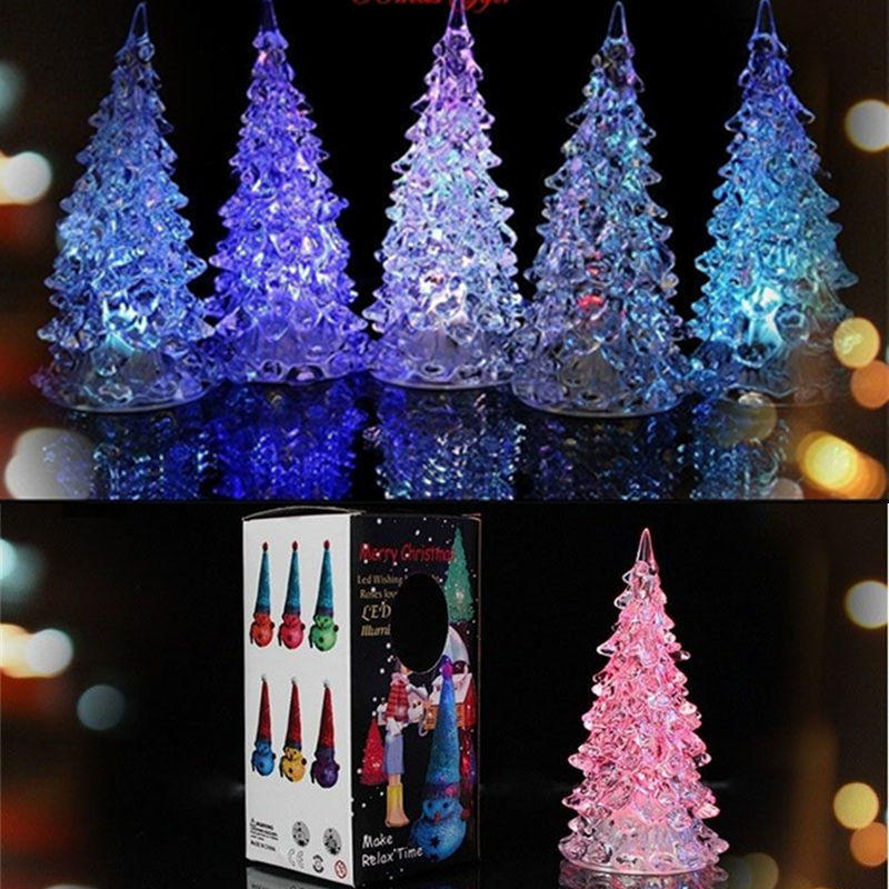2pcslot fairy rgb multi color changing led night light lamp christmas tree ornament acrylic christmas table valentines day deco
