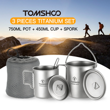 TOMSHOO 3 Pcs Lightweight Titanium Set Titanium Pot Water Cup Mug with Lid Foldable Spork for Outdoor Camping Hiking Backpacking