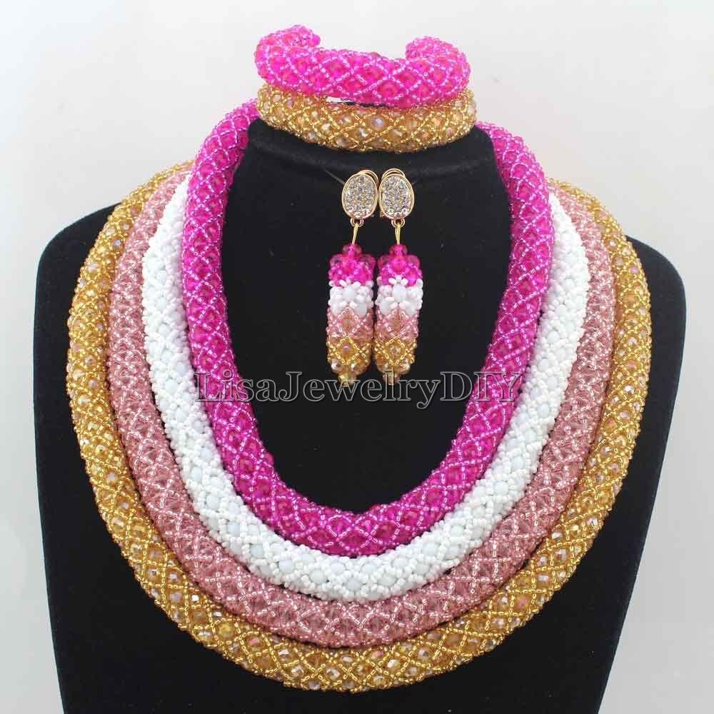 Здесь продается  2016 New Splendid 4 Layers African Costume Jewelry Sets Nigerian Traditonal Wedding Crystal Necklace Set Free Shipping HD7658  Ювелирные изделия и часы