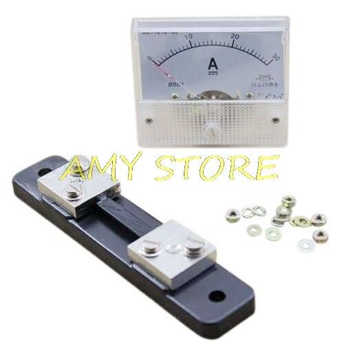 Painel de Corrente + 30a Analógico Amperímetro Medidor 75mv Shunt Resistor dc 0-30a