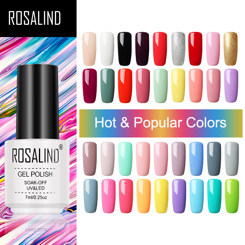 ROSALIND Gel Nail Polish Hybrid Varnishes Semi Permanent Nail Polish Vernis UV Color All For Manicured Gel Lak Top Base Primer(China)