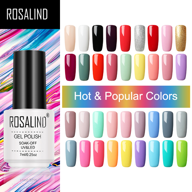 ROSALIND Gel Varnish Set For Manicure Hybrid Nail Art Top Coat Primer