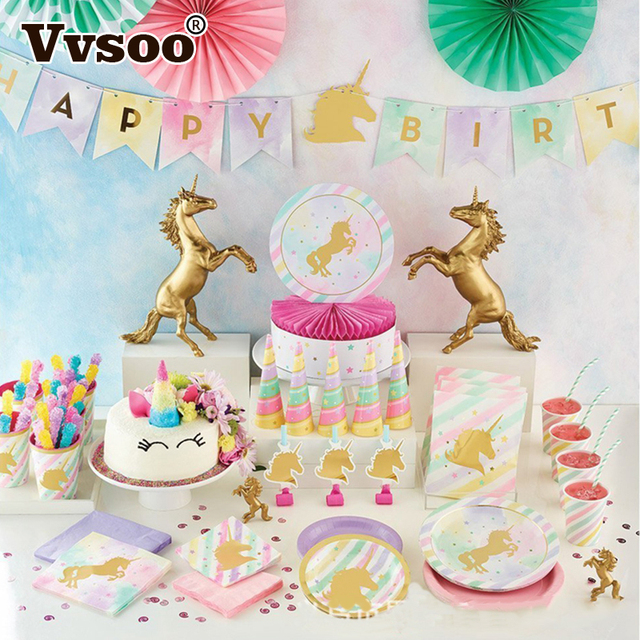 horse birthday party Vvsoo Gold Unicorn Party Tableware Set Plate Cup Rainbow Horse  horse birthday party