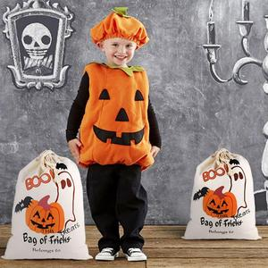 Image 2 - OurWarm 17 x14 inch Halloween Trick or Treat Bags for Kids Reusable Canvas Drawstring Tote Bag Gift Sack Halloween Party Decorat