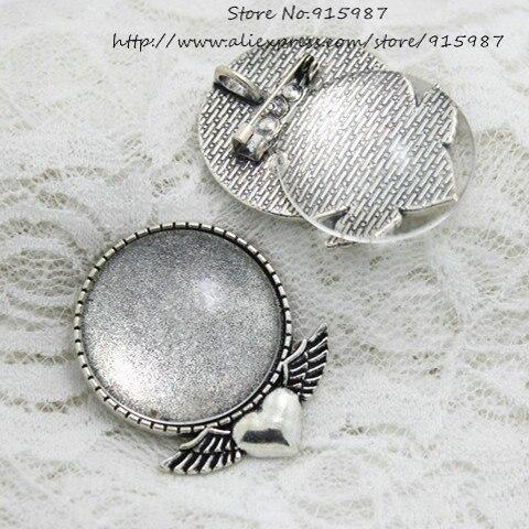 Doce sino 5 conjunto antigo liga de prata coração asa broche caber 30mm redondo cabochon broche + pingente definir cabochons vidro claro